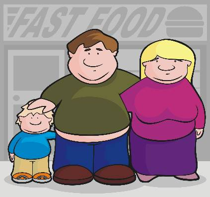 Fat Family in Front of Fast Food Background